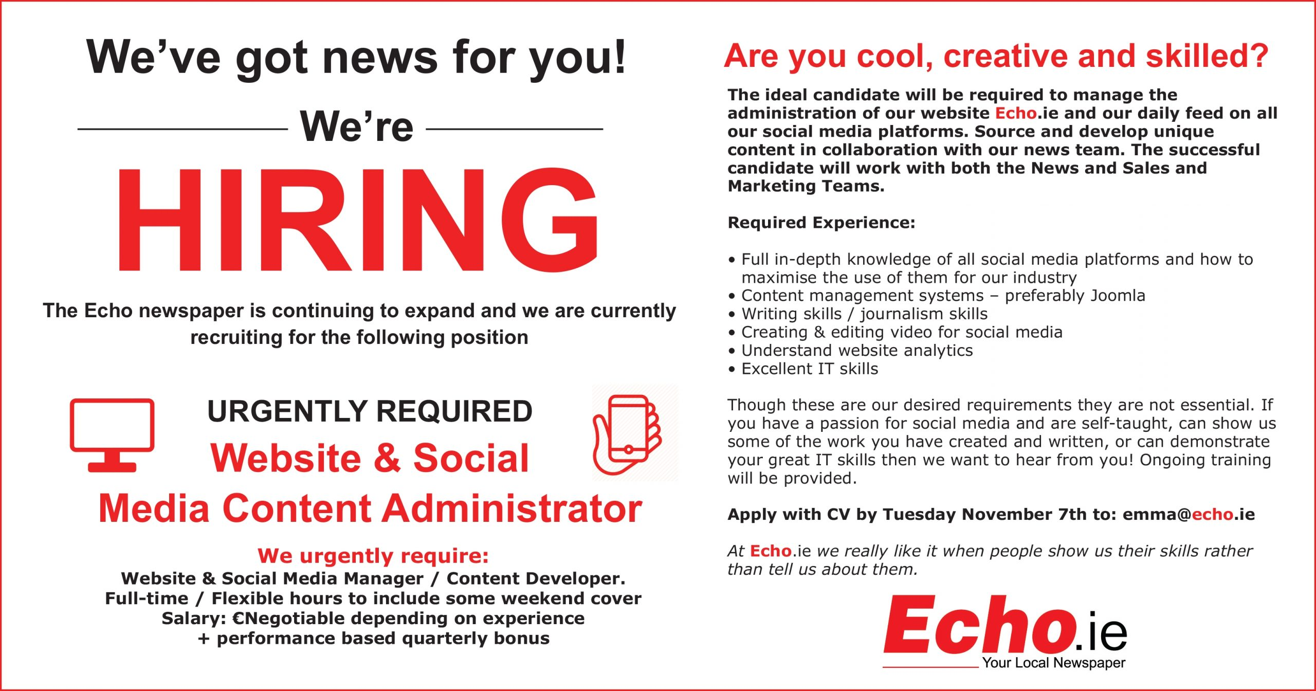 The Echo Newspaper is seeking a creative and skilled web and social media manager