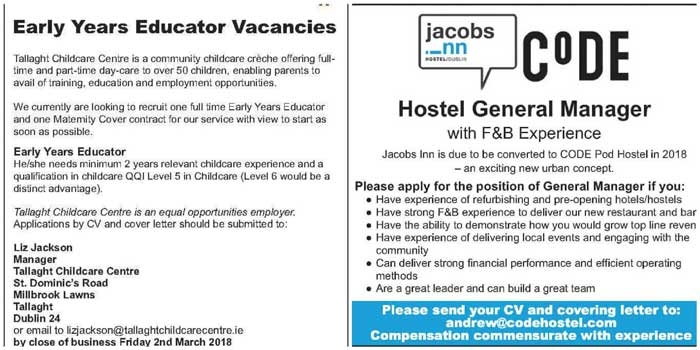 Check out this week's Echo Jobs and Training – 27th February 2018 Edition