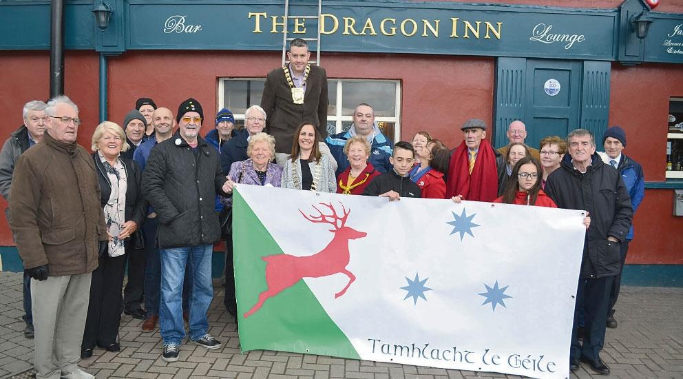 Unity Flag of Tallaght hoisted high over The Dragon Inn
