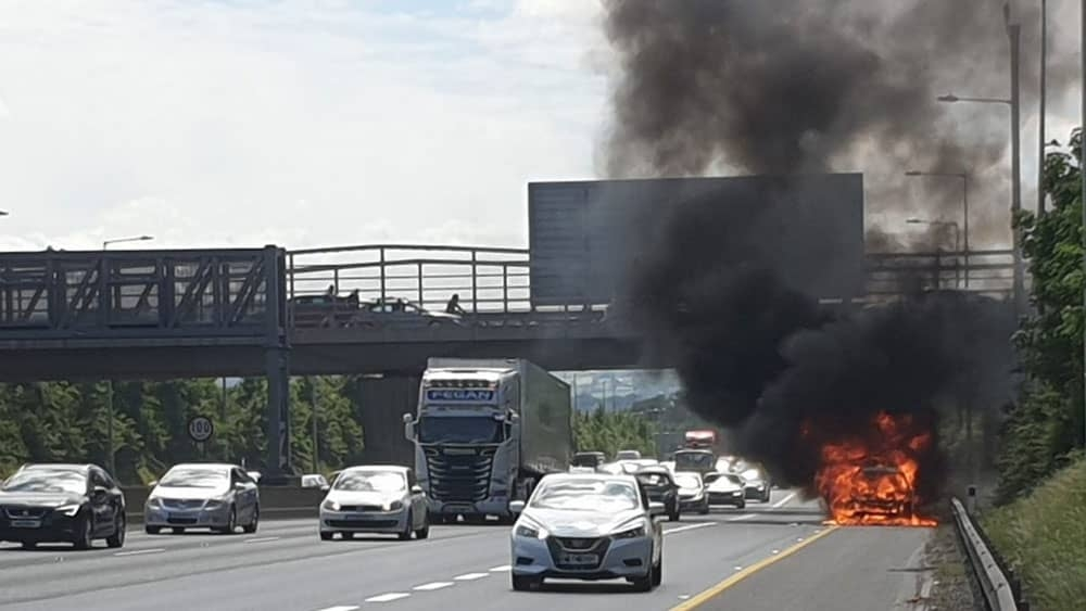 Emergency services respond to vehicle fire on the M50